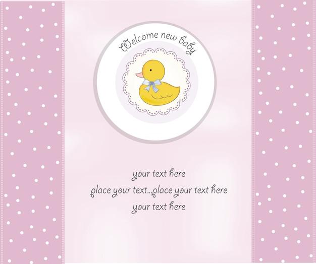 Baby-dusche-karte mit kleiner ente