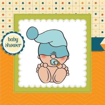 Baby-dusche-karte mit lustigen kleinen baby