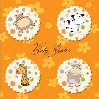 Baby-dusche-karte mit lustigen spielzeug