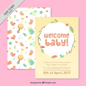 Baby-dusche-karte mit niedlichen baby-elemente
