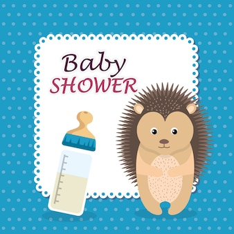 Baby-dusche-karte mit niedlichen stachelschwein