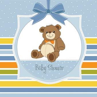Baby-dusche-karte mit niedlichen teddybär spielzeug
