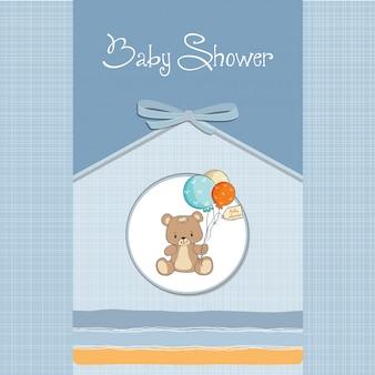 Baby-dusche-karte mit niedlichen teddybär