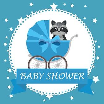 Baby-dusche-karte mit niedlichen waschbären