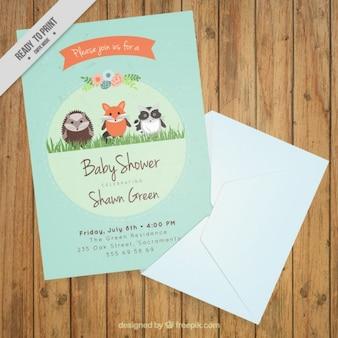 Baby-dusche-karte mit schönen tiere