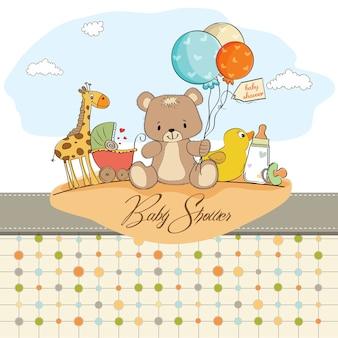 Baby-dusche-karte mit spielzeug