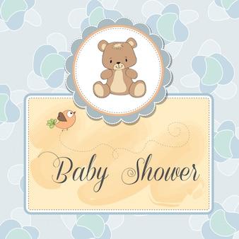 Baby-dusche-karte mit teddy