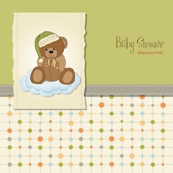 Baby-dusche-karte mit verschlafenen teddybär