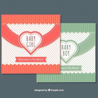Baby-dusche-karten mit linien und punkten