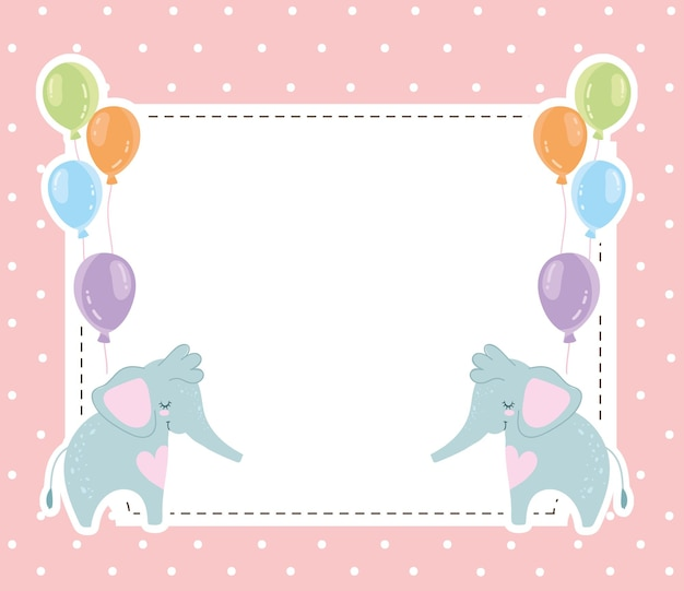 Baby-dusche niedliche elefanten tiere und luftballons einladungskarte vektor-illustration