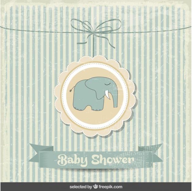 Baby-dusche-vintage-karte mit elefanten