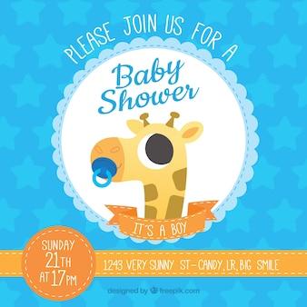 Baby-dusche-vorlage mit giraffe