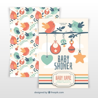 Baby-dusche-vorlage mit vögeln