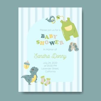 Baby einladungsvorlage mit babysachen in blauer farbe
