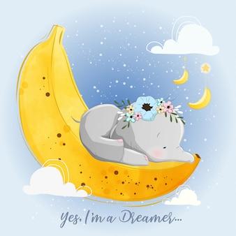 Baby-elefant, der auf einem bananen-mond schläft