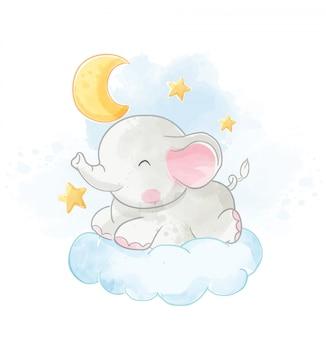 Baby-elefant, der auf wolke mit der mondillustration liegt