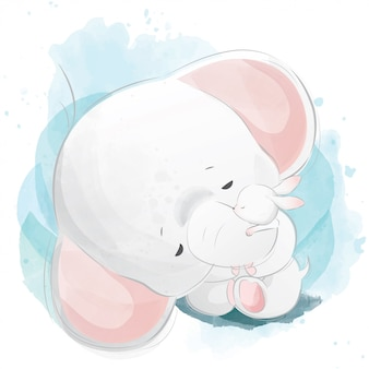 Baby-elefant, der das häschen umarmt