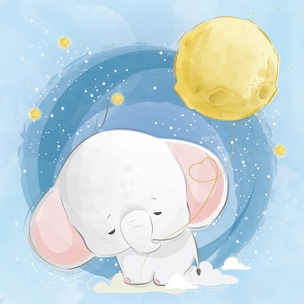Baby-elefant, der den mond-ballon zieht