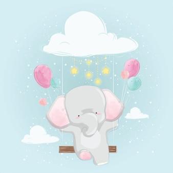 Baby-elefant, der zum himmel fliegt