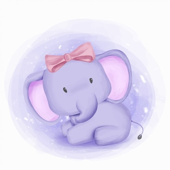 Baby-elefant-mädchen-schönheit und nett