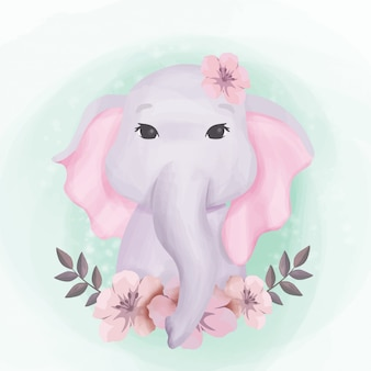 Baby-elefant-nette porträt-illustration