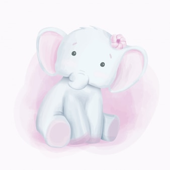 Baby-elefant-neugieriges blickaquarell