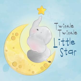 Baby elephant twinkle twinkle kleiner stern
