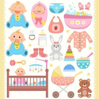 Baby-flache symbole gesetzt Premium Vektoren