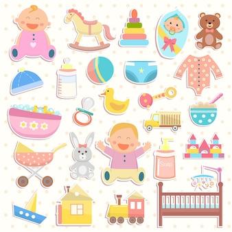 Baby-flache symbole gesetzt