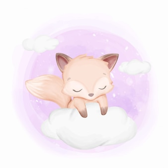 Baby foxy schläfrig auf wolken