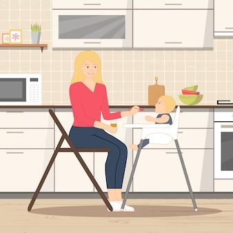 Baby füttert in der küche