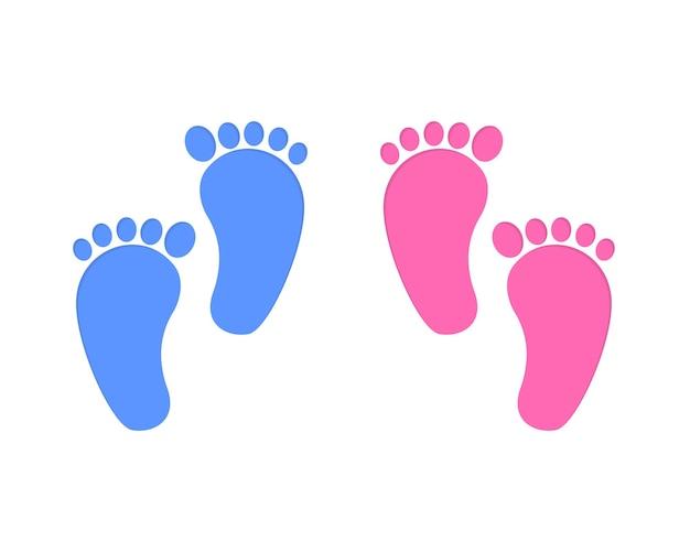 Baby-fußabdruck isoliert auf weißem hintergrund. füße des kleinen jungen und des mädchens. gestaltungselemente für grußkarten und einladungen, kinderzimmerdekoration, fotoshooting. flache vektorgrafik.