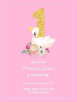 Baby-geburtstags-einladungskarte mit illustration von schönem schwan, blumen und goldenem glitzer nummer eins, ankunftsansage, grüße in vektor