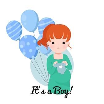 Baby geschlecht offenbaren jungen. babypartyillustration. nette schwangere dame, die babykleidung hält.