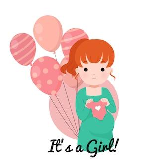 Baby geschlecht offenbaren mädchen. babypartyillustration. nette schwangere dame, die babykleidung hält.