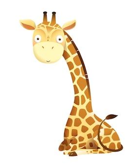 Baby giraffe niedliches tier sitzendes vektordesign für aufkleber, babyparty oder kinderzimmerkunst. entzückende giraffe für kinder lokalisierte vektor-cliparts.