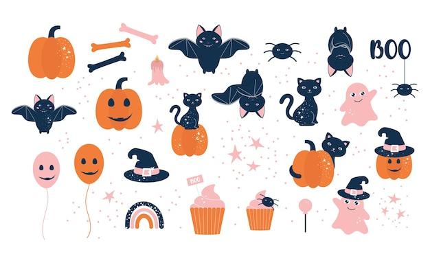Baby-halloween-illustrationen setzen magisches halloween-konzept
