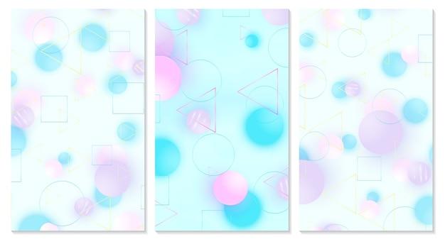 Baby hintergrund. abdeckungsset. designvorlage. weiches muster. kreative dekoration. rosa, blaue, violette kugeln. spaßkonzept. netter babyhintergrund.