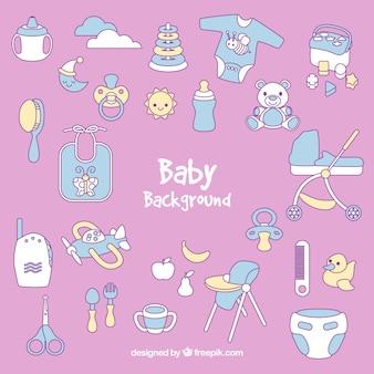 Baby hintergrund mit niedlichen elementen