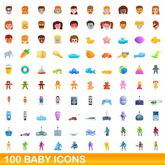 Baby-ikonen eingestellt. karikaturillustration von babyikonen auf weißem hintergrund eingestellt