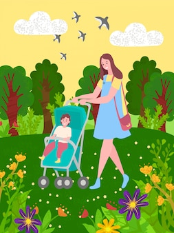 Baby im kinderwagen und in mutter, die in grünen park gehen