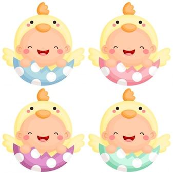 Baby im ostern-küken-kostüm
