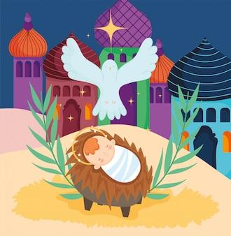 Baby jesus in einer krippe mit einer taube