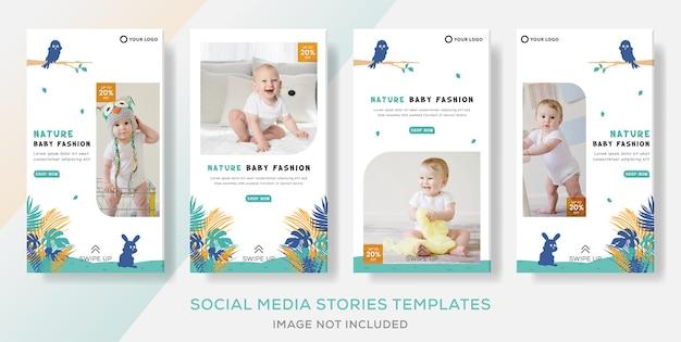 Baby kleidung banner vorlage geschichten beitrag Premium Vektoren