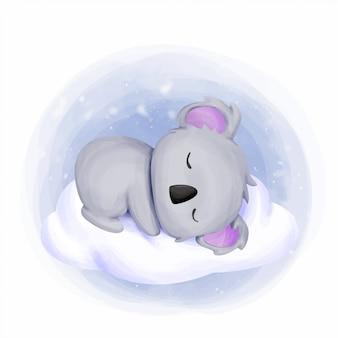Baby koala schlaf auf wolke