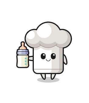 Baby-kochmütze-cartoon-figur mit milchflasche, süßes design für t-shirt, aufkleber, logo-element
