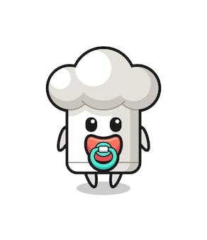 Baby-kochmütze-cartoon-figur mit schnuller, süßes design für t-shirt, aufkleber, logo-element