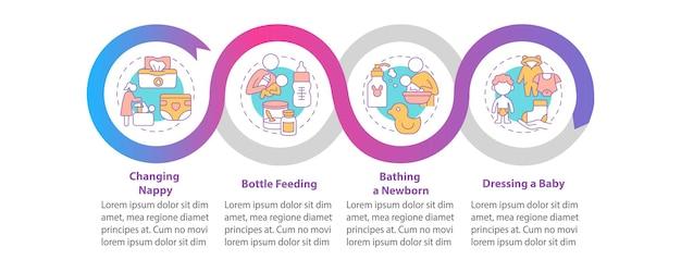 Baby krankenpflege gradienten vektor infografik vorlage. designelemente der mutterschaftspräsentation skizzieren. datenvisualisierung mit 4 schritten. info-diagramm zur prozesszeitachse. workflow-layout mit liniensymbolen
