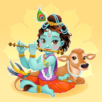 Baby-krishna mit heilige kuh vector cartoon illustration hindu-gott