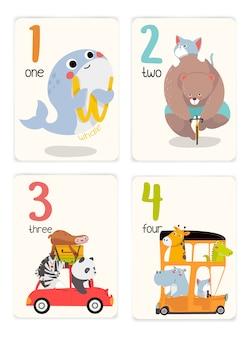 Baby-lernkarten mit tieren. pädagogisch für kinder. nummer eins bis vier mit tieren. niedliche tiere, die mit dem auto reisen.